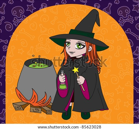Little witch makes potion(on orange background)