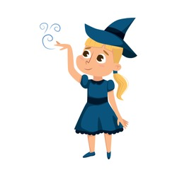 Little Witch Practicing Witchcraft, Cute Blonde Girl Wearing Blue Dress and Hat, Happy Halloween Concept Cartoon Style Vector Illustration