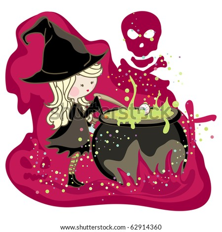 little witch preparing potion in cauldron
