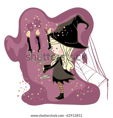 little witch with black candles