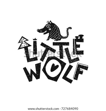 little wolf hand drawn style