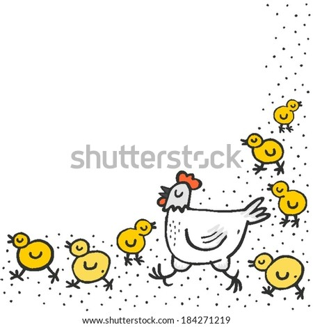 little yellow chickens with mum white hen spring holiday Easter illustration on white dotted background with blank place for your text