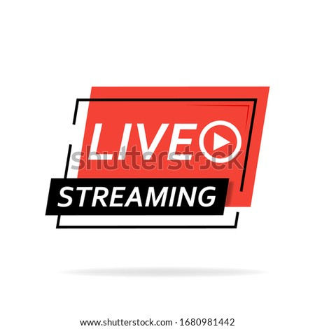 Live broadcast. The red symbol of live broadcasting and live broadcasting, broadcasting, online broadcasting. Vector illustration.
