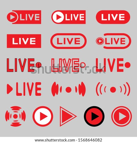 Live broadcasting icons set. Red symbols and buttons for live broadcast, broadcast, online broadcast. Vector