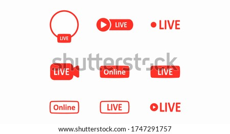 Live button. A set of red buttons for video blogs, news feeds, streams, and video content. Social media network concept. Web design. Vector illustration