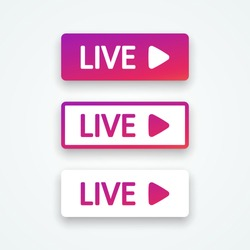 Live buttons, element interface bubble. Set colorful gradient buttons with shadow. Templates web button, app, ui. Social media concept. Vector illustration. EPS 10