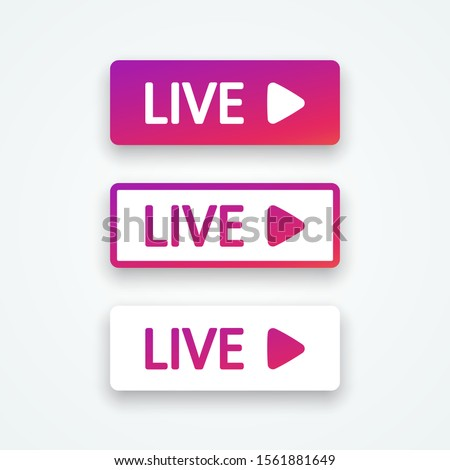 Live buttons, element interface bubble. Set colorful gradient buttons with shadow. Templates web button, app, ui. Blogging. Social media concept. Vector illustration. EPS 10