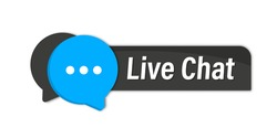Live Chat button. Online support call center. Customer support. Chat messenger icon for web landing page, ui, mobile app, banner template. Client support button online chatting for advises