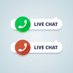 Live chat buttons. Online and offline variants. Phone sign. Vector illustration in material design style. 24/7 support.