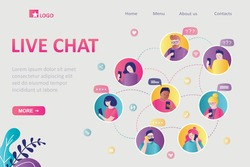 Live chat, landing page template. Young adults communicate in social media. Group of human avatars. People talking, share data over Internet. Online meeting, video calls. Flat vector illustration