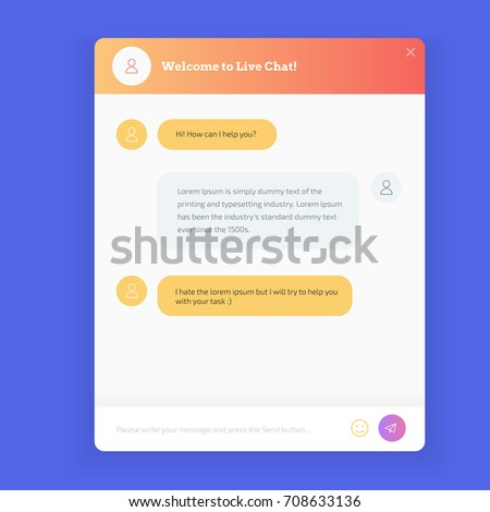 Live chat window to obtain live support on website. Live chat window to obtain answers to user questions. Modern colors UI mobile design.