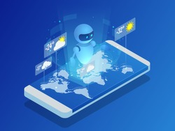 Live chatbot tells the weather forecast. Isometric Online weather forecast widget mobile application program.