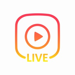 Live colorful button. Live icon for social media. Online blog banner. Broadcasting. Streaming. Story. Vector illustration