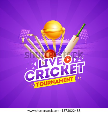 Live Cricket Tournament concept with cricket elements and golden champion trophy on purple stadium view background. Can be used as template or poster design.