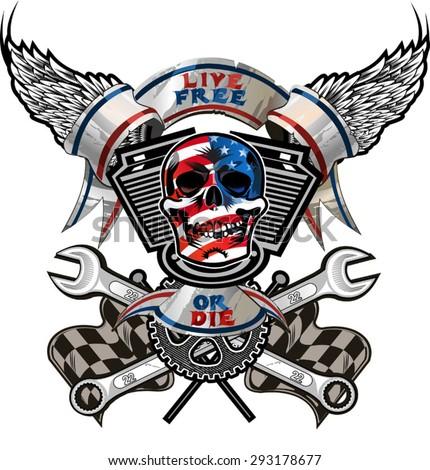 live free or die   biker skull