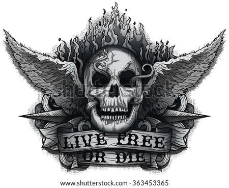 live free or die  grunge biker