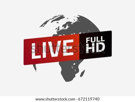 Live full HD button. Globe. Sign, emblem, logo. Template for citybanner, website, design, cover, infographics. Vector illustration. Light background. Eps10.