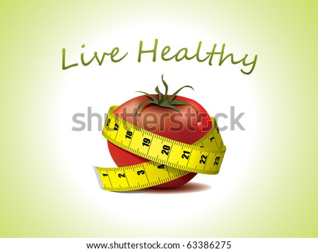 Live Healthy - fresh tomato with measuring tape