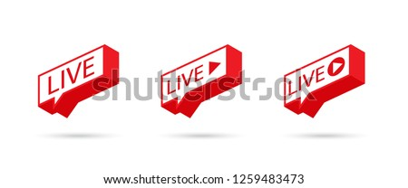 LIVE icon, button, symbol, web, ui, app. Social media icon LIVE streaming. Speech bubble. Vector illustration. Foto d'archivio ©