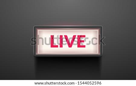 Live light broadcast sign. Tv radio studio live red box on air show icon. Zdjęcia stock ©