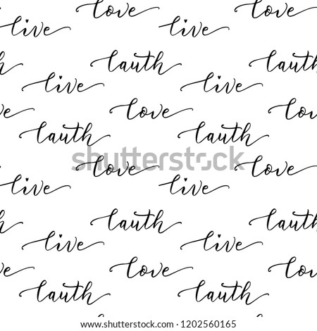 Live Love Laugh Vector Lettering Seamless Pattern Hand Drawn