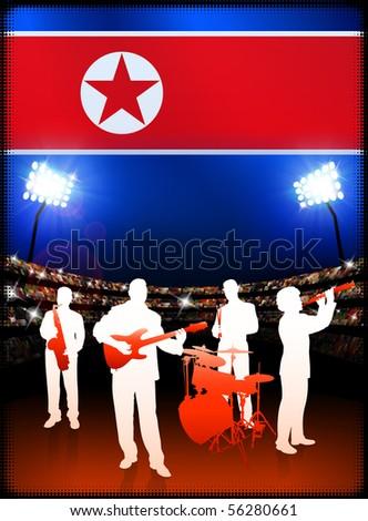 the north korean flag. Band with North Korea Flag