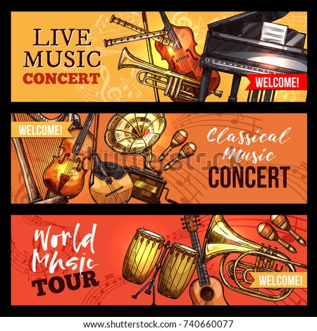 Live music concert or band world tour banners of musical instruments. Vector sketch violin fiddle or contrabass and percussion drum or maracas, harp and trumpet or saxophone, piano and banjo guitar