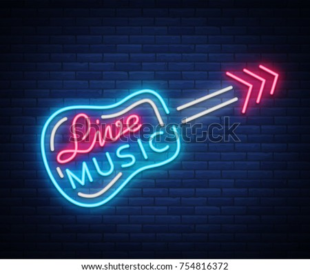 Live music neon sign vector, poster, emblem for live music festival, music bars, karaoke, night clubs. Template for flyers, banners, invitations, brochures and covers