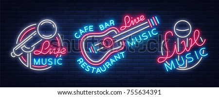 Live music set of neon signs vector logos, poster, emblem for live music festivals, music bars, karaoke, night clubs. Collection of templates for flyers, banners, invitations, brochures and covers.