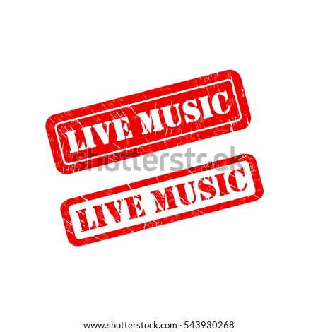 LIVE MUSIC stamp sign text red.