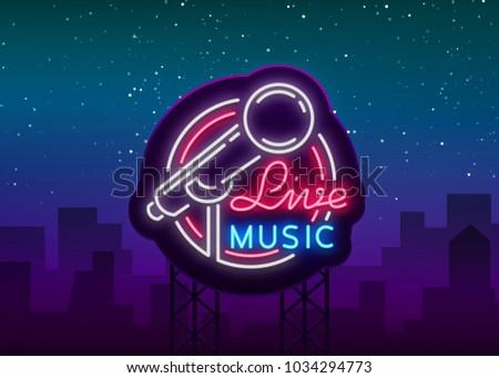 live musical vector neon logo