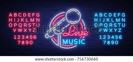 Live musical vector neon logo, sign, emblem, symbol poster with microphone. Bright banner poster, neon bright sign, nightlife club advertising, karaoke, bar. Editing text neon sign.