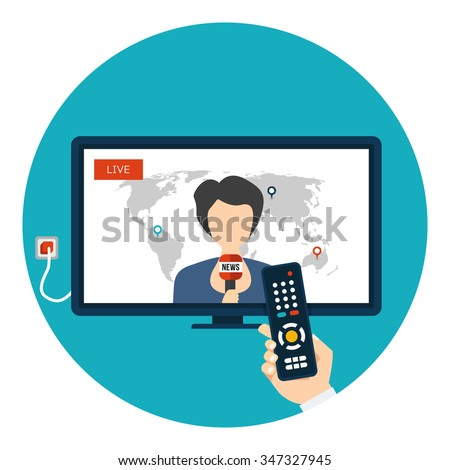 Live News on TV with woman newsreader icon in circle isolated on white background. News of the world. Vector illustration with hand holding remote control