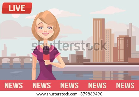 live news vector flat cartoon