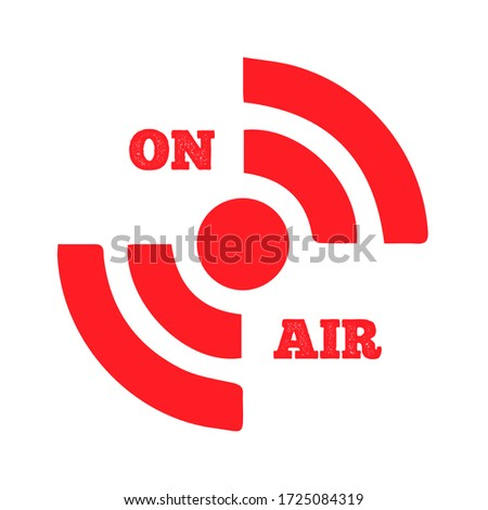 Live on Air icon Vector. Radio On Air, modern trend design. live streaming icon. Red symbols and buttons of live streaming, broadcasting, online stream  Zdjęcia stock ©