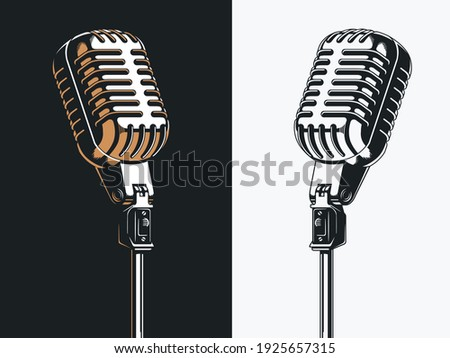 Live on stage open microphone drawing, transparent background clipart illustration ストックフォト ©