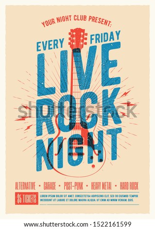 Live rock music night party promo ad flyer design. Live music poster. Vector illustration.