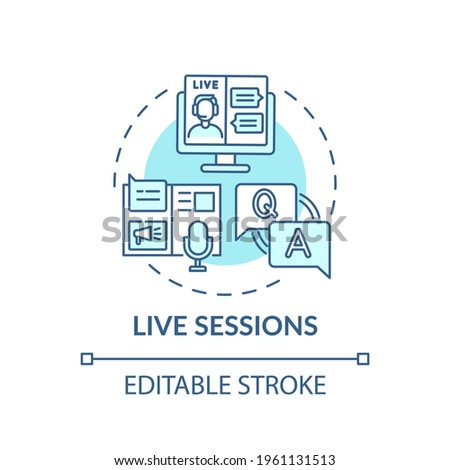 Live sessions concept icon. Virtual event content idea thin line illustration. Creating positive attendee experiences. Live stream session. Vector isolated outline RGB color drawing. Editable stroke Foto stock ©