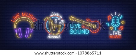 Live sound music neon signs collection. Neon sign, night bright advertisement, colorful signboard, light banner. Vector illustration in neon style.