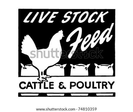 live stock feed   retro ad art...