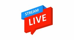 Live stream button. Isometric button for blogging, streaming, and online broadcasts. Social media network concept. Vector illustration