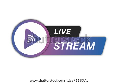 Live Stream icon. Live streaming element for broadcasting or online tv stream. Video stream icons. Symbol on online education topic with live video stream icon, streaming