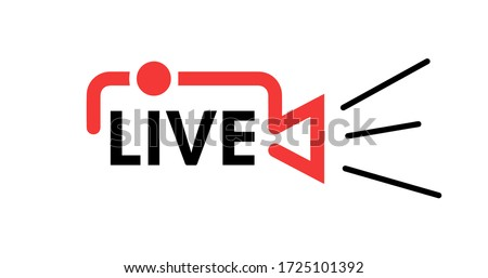 Live stream in camera shape concept. Stock vector illustration for online broadcast, tv program. Logo for your online broadcasts. Coronavirus. NEWS. Stay at home. Stock photo ©