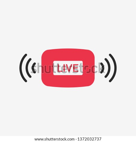 Live stream red button. Online streaming. Isolated. Vector