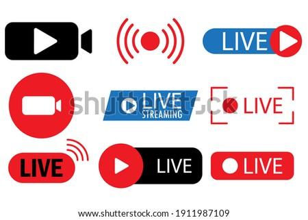 Live streaming, broadcasting, online stream. Live video streaming. Online stream sign. Stock image. EPS 10.