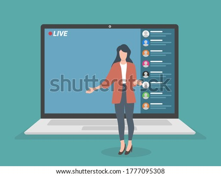 Live streaming event, young female character performing in front of the laptop camera, remote activities