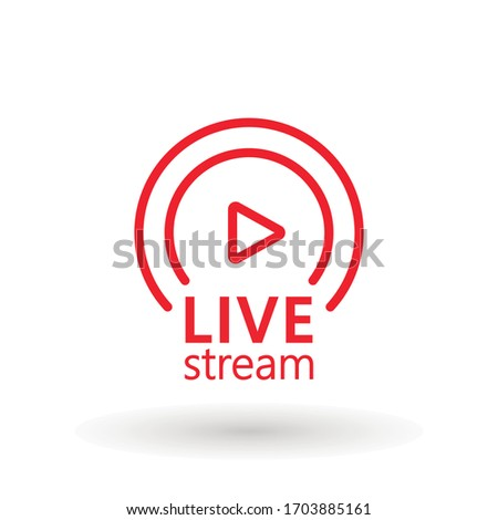live streaming icon. Red symbol and button of live streaming, broadcasting, online stream. Lower third template for tv, show, movie and live performance. Vector