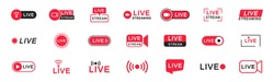 Live streaming icon set. Live broadcasting buttons and symbols. Set of online stream icons. Live stream logo. Social media. Vector illustration.