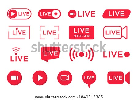 Live streaming icon set. Live stream red logo. Broadcasting online.