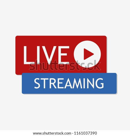 Live streaming icon. Social media element. Live button in flat style. Vector illustration